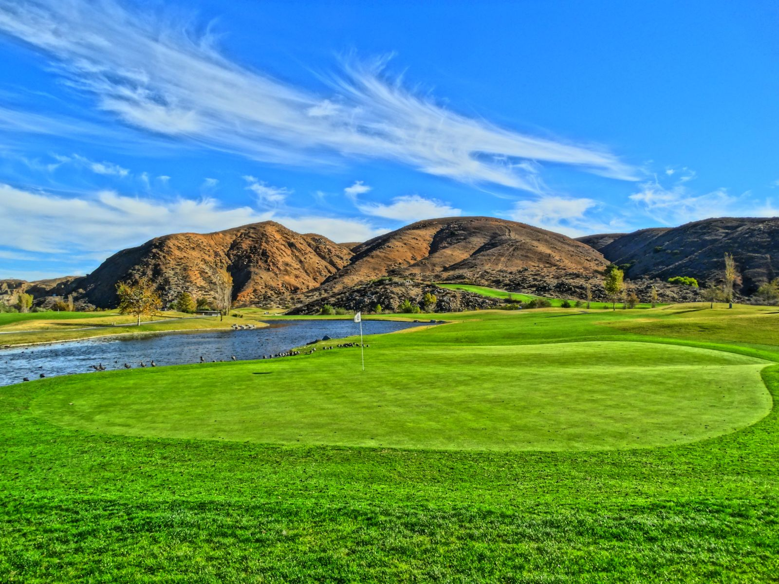 Enjoy the Inland Empire scenery with a round at Dos Lagos Golf Course