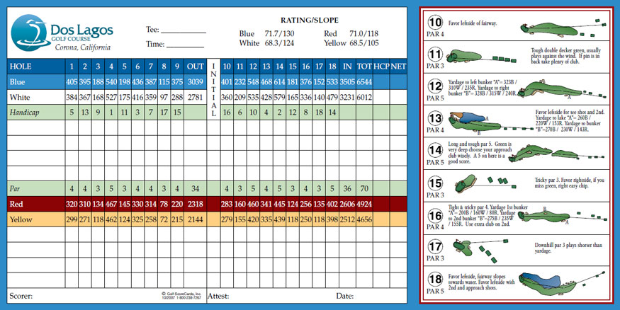 Scorecard for Dos Lagos Golf Course in Corona
